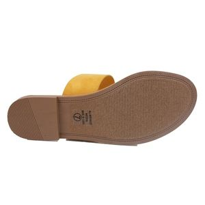 Shoes - Mustard Double Strap Flat Sandal